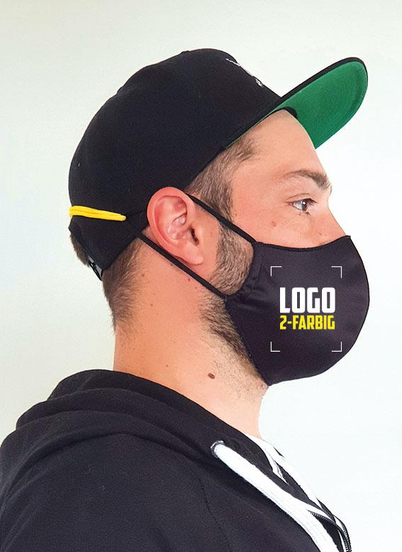 Hygiene-Wendemaske mit 2-farbigem Logo bedruckt