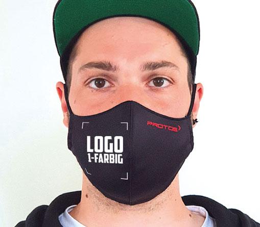 Hygiene-Wendemaske mit 1-farbigem Logo bedruckt